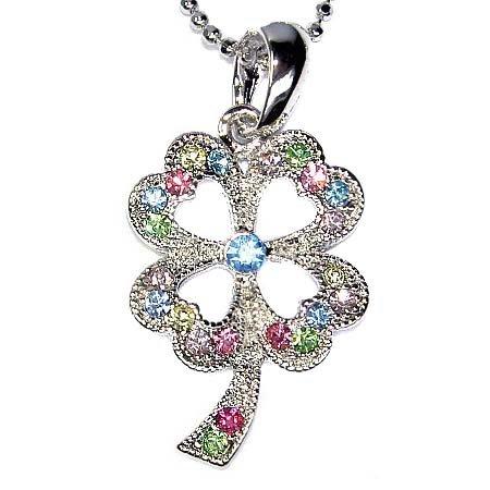 Rainbow Lucky 4-leaf Clover Swarovski Crystal Pendant Necklace