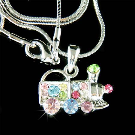 Swarovski Crystal Rainbow Toy Mexican Train Pendant Necklace