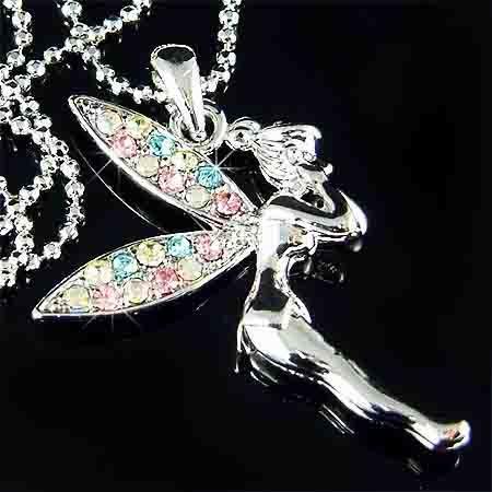 Rainbow Tinkerbell Pixie Swarovski Crystal Necklace