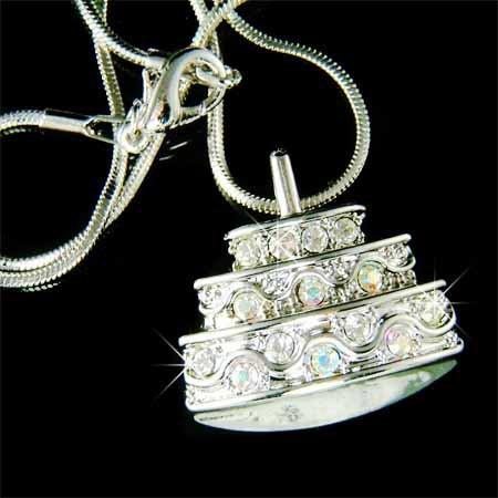 Happy 1st Birthday Cake Swarovski Crystal Necklace