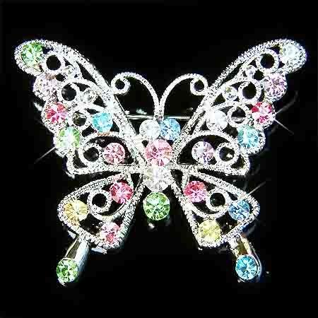 Rainbow Cutout Butterfly Swarovski Crystal Brooch