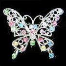 Rainbow Cutout Butterfly Swarovski Crystal Brooch