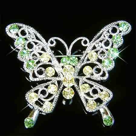 Green Cutout Butterfly Swarovski Crystal Brooch