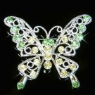 Green Cutout Butterfly Swarovski Crystal Brooch