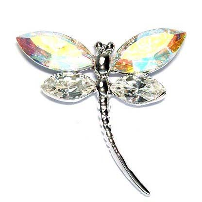 Clear Dragonfly Swarovski Crystal Bridal Bouquet Brooch