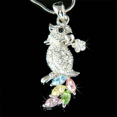 Parrot Macaw Cockatiel bird Swarovski Rainbow Crystal Necklace