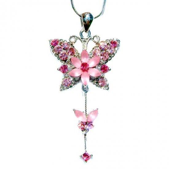 Pink Butterfly Flower Swarovski Crystal Necklace