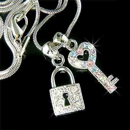 Juicy KEY TO MY HEART Swarovski Crystal Love LOCK Charm Necklace