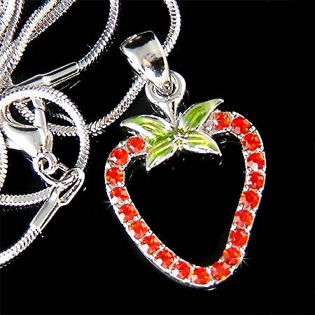 Hot Red Sexy Swarovski Crystal Juicy Strawberry Pendant Necklace