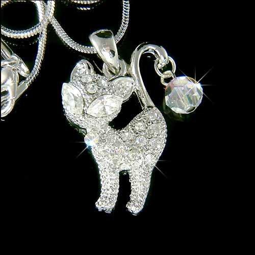 Naughty Kitty Cat Swarovski Crystal Necklace