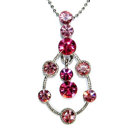 Pink Teardrop Swarovski Crystal Necklace