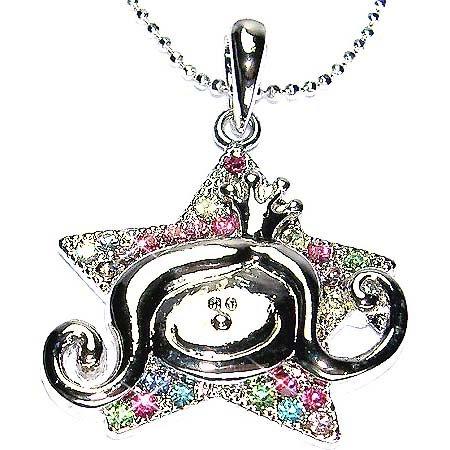 Swarovski Crystal Angel Princess with Crown in Star Necklace
