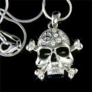 Swarovski Crystal Skull Crossbone Peace Sign Pendant Necklace