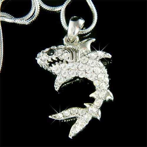 Wild White Shark Jaws Swarovski Crystal Necklace