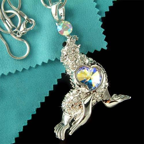 Ocean Wild Seal / Sea Lion Swarovski Crystal Necklace