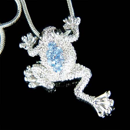 Light BlueSwarovski Crystal Wildlife Leap Frog Pendant Necklace