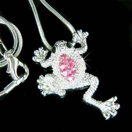 Swarovski Crystal Wildlife Pink Leap Frog Pendant Chain Necklace
