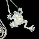 Aurora Borealis Frog Wildlife Animal Swarovski Crystal Necklace