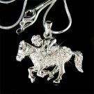 Equestrian Horse Rider Swarovski Crystal Necklace