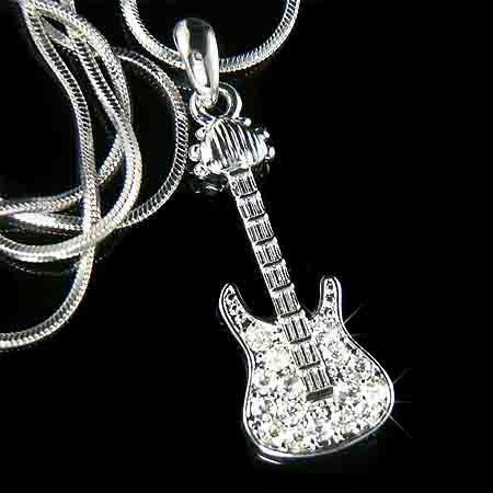 Clear Electric Guitar Swarovski Crystal Necklace