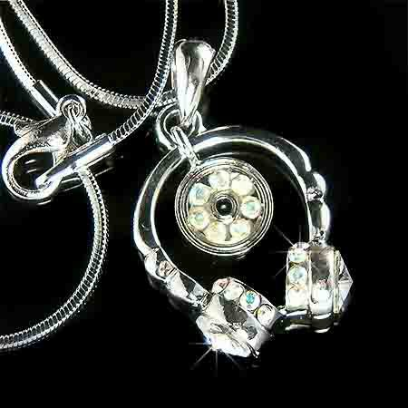 Music Lover? Headphone with CD Swarovski Crystal Necklace