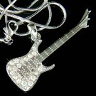 Big Fender Style Rock Electric Guitar Swarovski Crystal Necklace