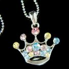 Swarovski Crystal Rainbow Royal Princess Crown Pendant Necklace