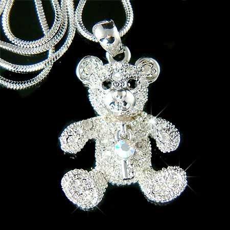 Juicy Teddy Bear with Key Swarovski Crystal Necklace