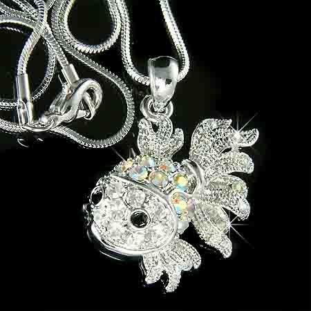 Aquarium Clear Goldfish Swarovski Crystal Necklace