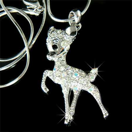 Couture Swarovski Crystal Bambi Deer Necklace