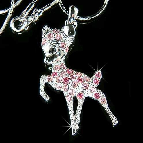 Pink Couture Swarovski Crystal Bambi Deer Necklace