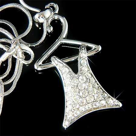 Dress Clothes Hanger Swarovski Crystal Necklace