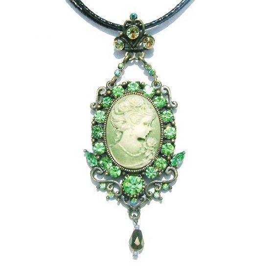 Swarovski Crystal Classy X'mas Cameo Crown Pendant Necklace