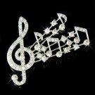 Big Treble G Clef & Music Note Swarovski Crystal Brooch