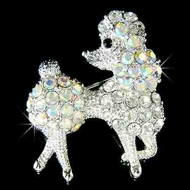 French White Poodle Dog Swarovski Crystal Brooch