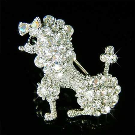 Clear White French Poodle Dog Swarovski Crystal Animal Brooch