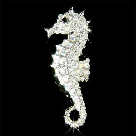Swarovski Crystal Seahorse Brooch for Beach Wedding Bride