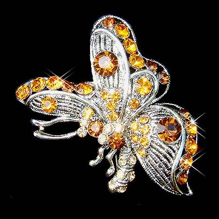 Topaz Gold Brown Side View Swarovski Crystal Butterfly Brooch