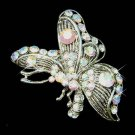 Clear Side View Swarovski Crystal Butterfly Brooch