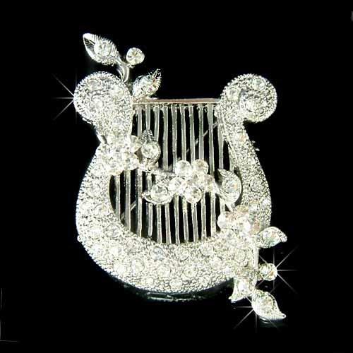 Fairy Bridal Wedding Swarovski Crystal Kinnor Harp Brooch