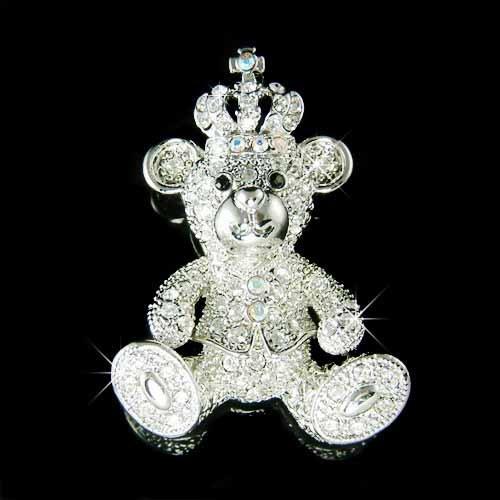 Juicy Teddy Bear with Crown Swarovski Crystal Brooch