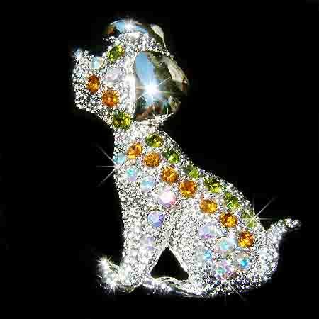 Swarovski Crystal Beagle Puppy Dog Brooch
