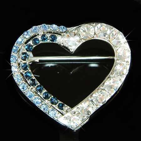 Something Blue Cutout Heart Swarovski Crystal Brooch