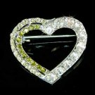 Green Cutout Heart Swarovski Crystal Brooch