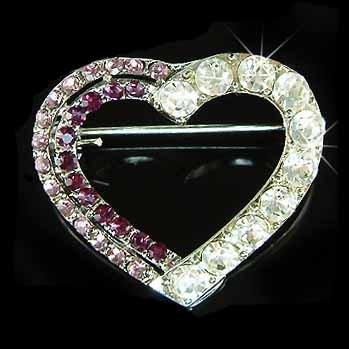 Purple Cutout Heart Swarovski Crystal Brooch