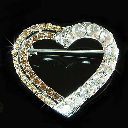 Brown Topaz Cutout Heart Swarovski Crystal Brooch
