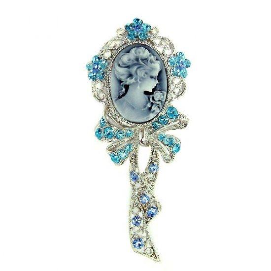 Huge Victorian Blue Cameo Swarovski Crystal Brooch
