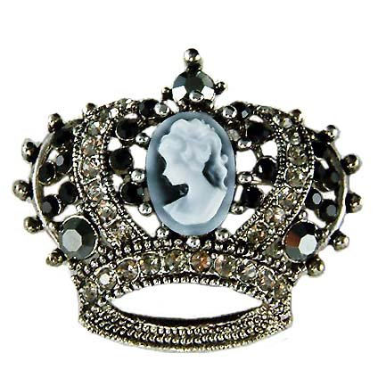 Black Gothic Cameo Crown Swarovski Crystal Brooch
