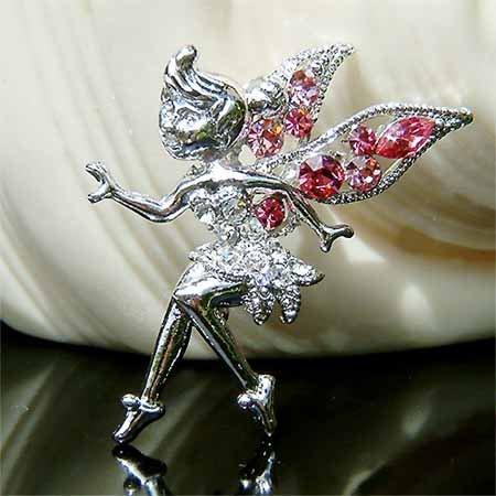 Pink Tinkerbell Fairy Wing Swarovski Crystal Brooch