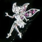 Purple Tinkerbell Fairy Wing Swarovski Crystal Brooch